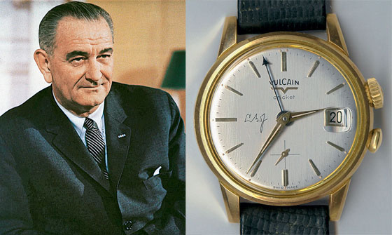 Lyndon B. Johnson and his Vulcain Cricket with his initials on the dial