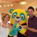 At Hollywood & Vine Restaurant in Disney World, Adrienne and Derek Bonner show off their watches along with Special Agent Oso. Adrienne is wearing a two-tone TAG Heuer Aquaracer Automatic, Derek is wearing TAG Heuer Aquaracer Day-Date Automatic Chronograph, and Special Agent Oso has a cool watch of his own.