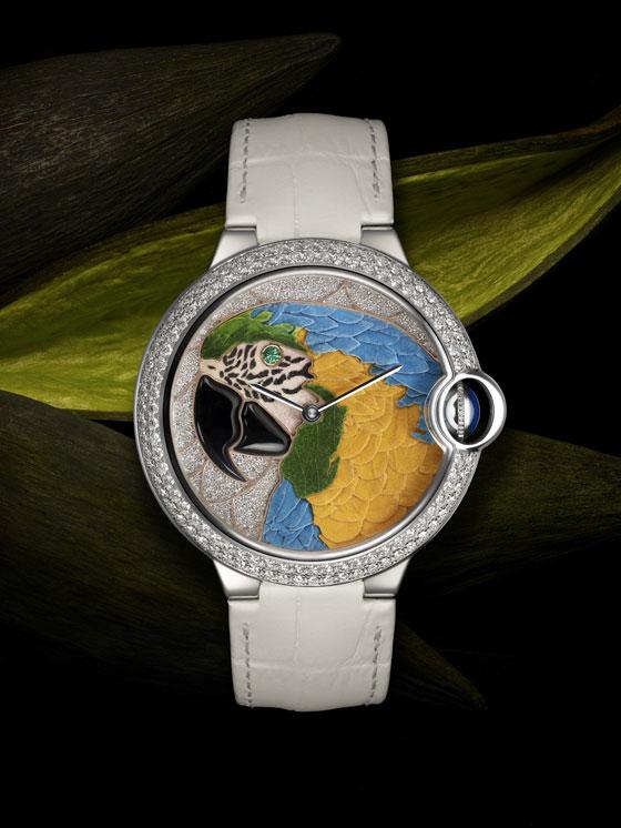 Cartier Ballon Bleu de Cartier Floral-Marquetry Parrot Watch
