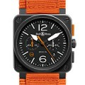 Bell & Ross BR03-94 Carbon-Orange Orange canvas strap