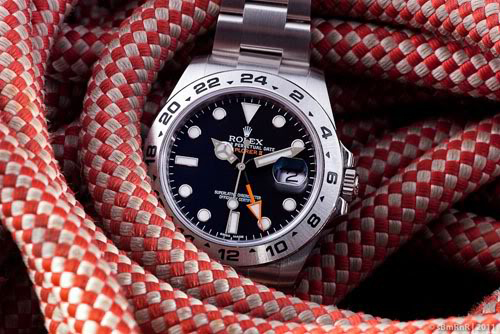 Rolex Explorer 2 - nautical rope background
