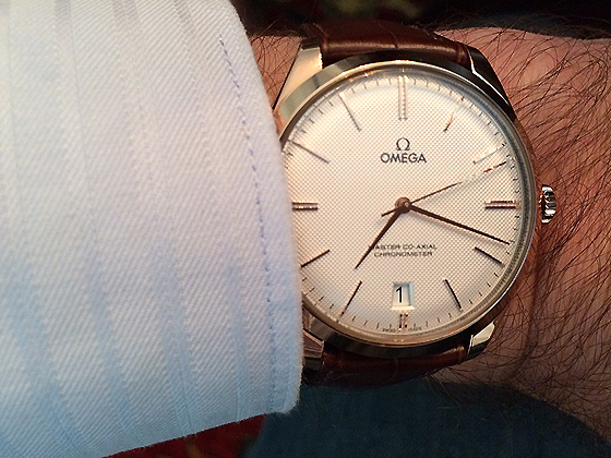 Omega De Ville Tresor in Sedna gold - on wrist