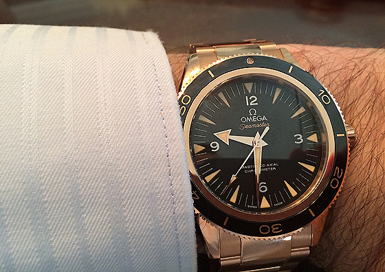 Omega Seamaster 300 in Sedna gold - on wrist