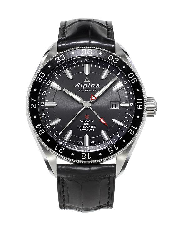 Alpina Alpiner 4 GMT/24H - black dial & strap