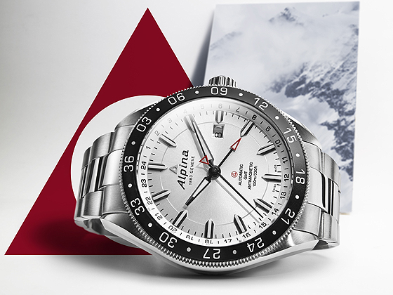 Alpina Alpiner 4 GMT/24H - white dial & bracelet - side