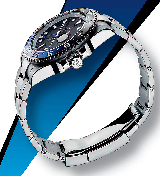 Replica Rolex GMT-Master II - black-blue bezel - side