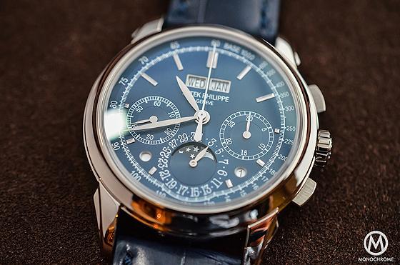 Patek Philippe 5270 Perpetual Calendar Chronograph Blue - front CU