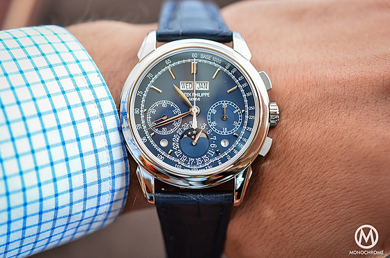 Patek Philippe 5270 Perpetual Calendar Chronograph Blue - on wrist