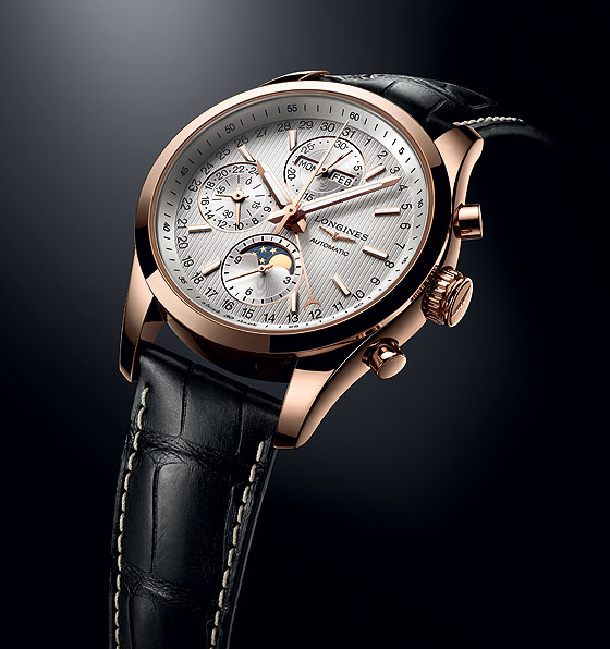 Longines Conquest Classic Moonphase - gold on strap