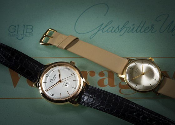 Modern Sixties Panorma Date next to historic 1960s timepiece