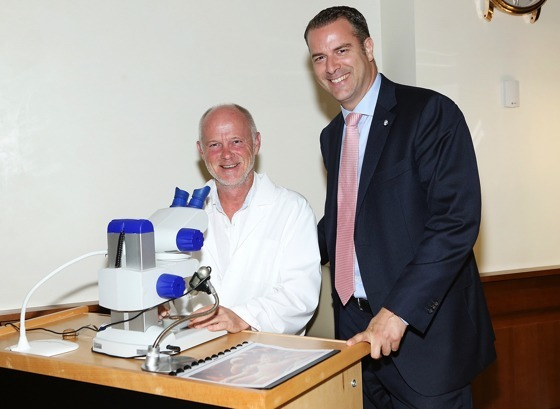 Blancpain master engraver Christophe Bernardot (left) and US Brand Manager, David Gely (right)