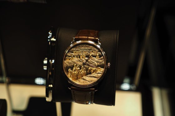 Engraved and damascened dial with decoration of Mausoleum of the first Qin Emperor