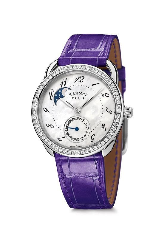 Hermes Arceau Petite Lune - steel with diamonds ultraviolet alligator