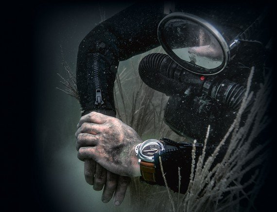 Diver checking Panerai underwater