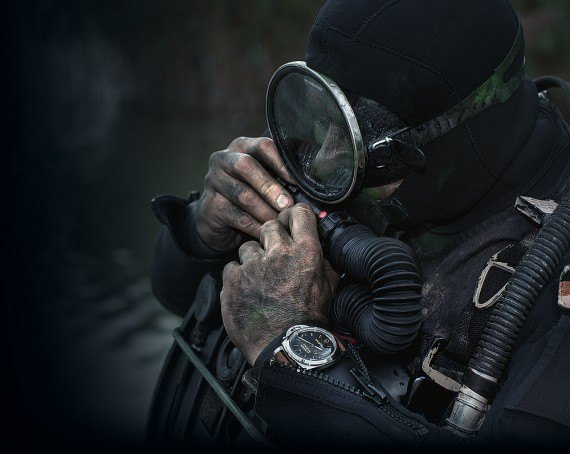 Honer with rebreather mask and Panerai