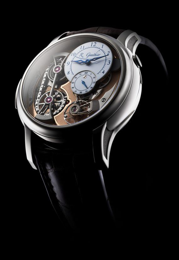 Romain Gauthier Logical One - white gold, white enamel dial - angle