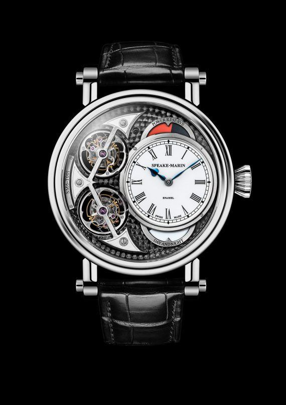 Speake-Marin Black Magister Vertical Double Tourbillon - front