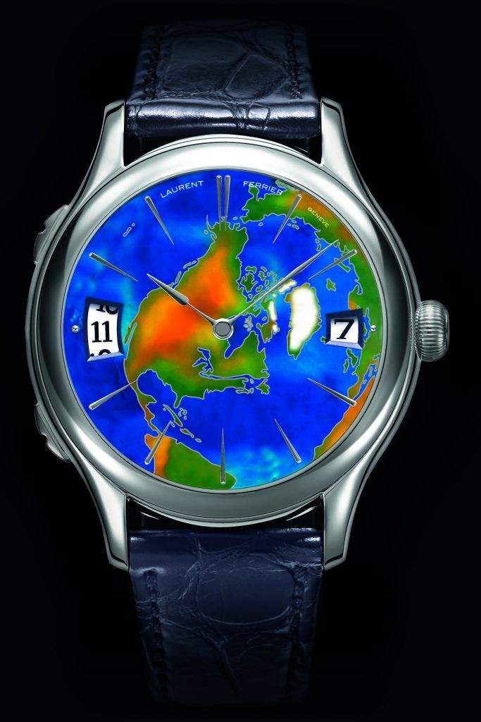 One version of the Laurent Ferrier Galet Traveller has an enameled map of North America.