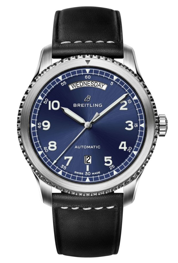The Breitling Navitimer 8 Day-Date on a steel bracelet with a black dial.