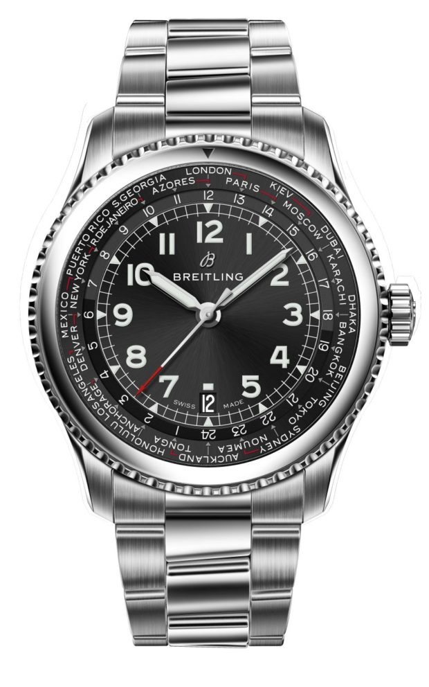The Breitling Navitimer 8 Unitimer with s black dial and stainless steel bracelet.