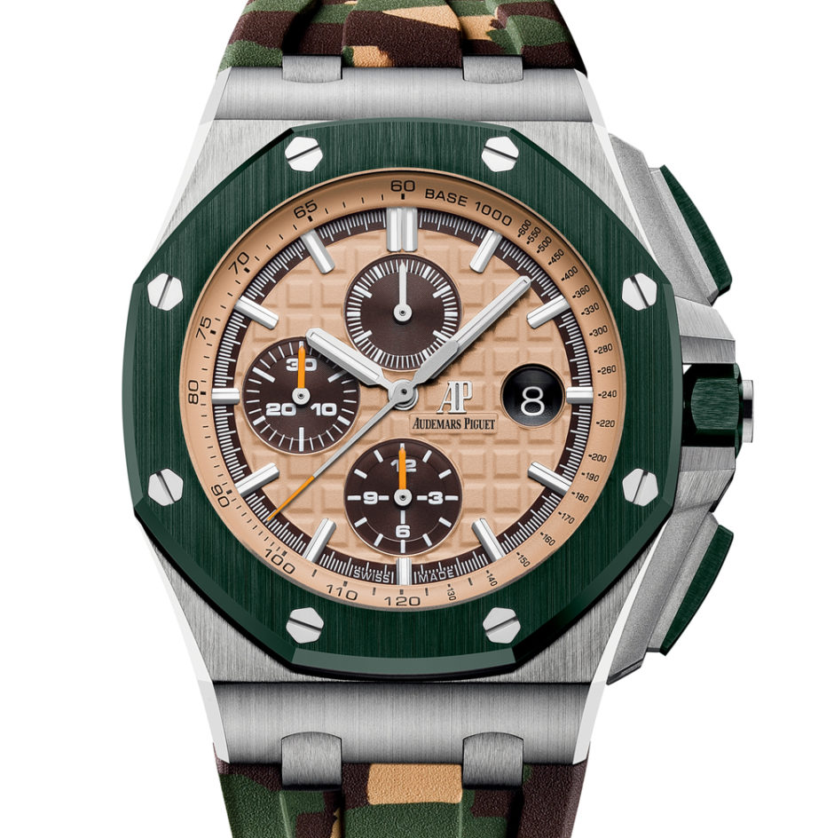 The Royal Oak Offshore Self-winding Chronograph with a Khaki Green Bezel and Camouflage Strap