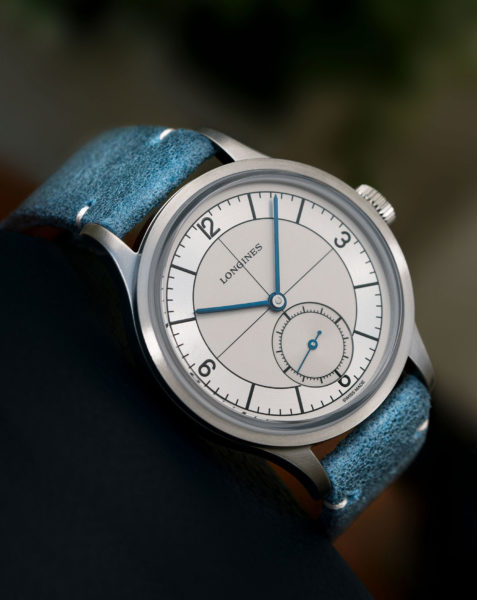 Longines Heritage Classic Sector Dial - light blue - reclining