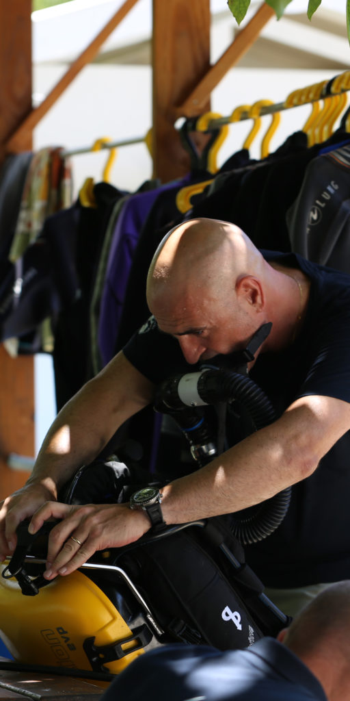 Blancpain CEO Marc A. Hayek getting ready for the next dive.